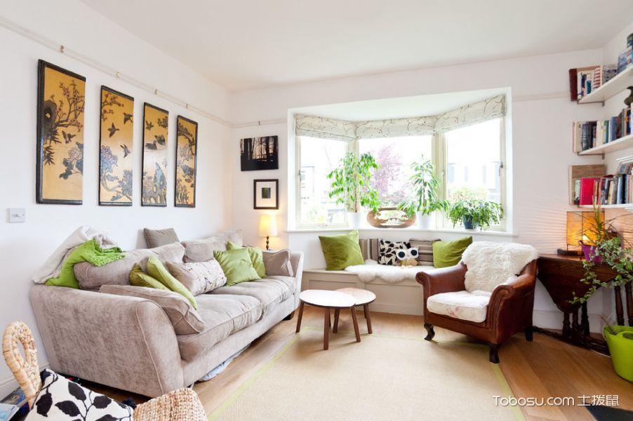 客厅白色飘窗混搭风格装潢图片