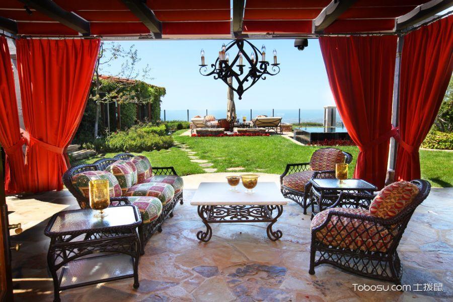 阳台红色窗帘美式风格效果图