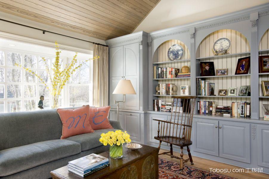 客厅灰色博古架混搭风格装饰设计图片