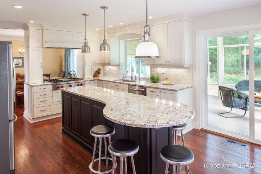 厨房白色推拉门美式风格装修设计图片