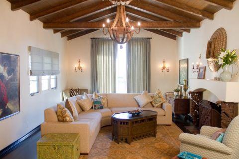 客厅地中海风格效果图大全2017图片_土拨鼠极致纯净客厅地中海风格装修设计效果图欣赏