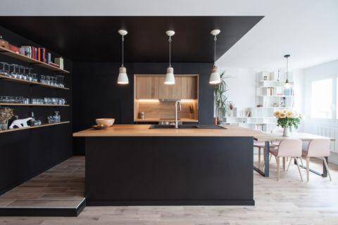 厨房现代风格效果图大全2017图片_土拨鼠豪华优雅厨房现代风格装修设计效果图欣赏