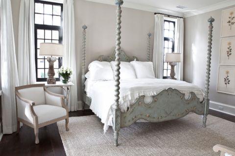 卧室白色窗帘美式风格装修图片