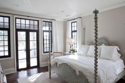 卧室灰色推拉门美式风格装修设计图片