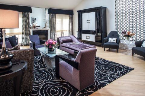 客厅彩色窗帘美式风格效果图