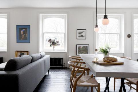 餐厅白色隔断现代风格装修设计图片