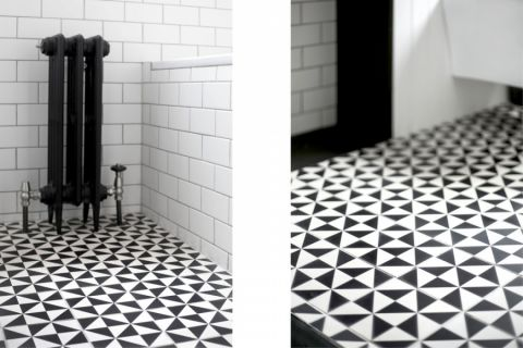 卫生间彩色地板砖现代风格效果图