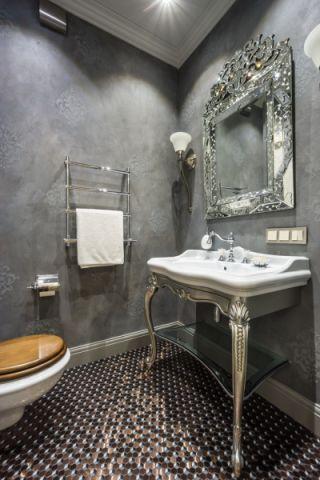卫生间灰色背景墙美式风格装潢设计图片