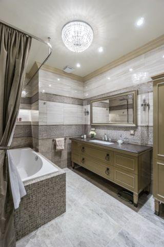 浴室白色吊顶美式风格装饰效果图