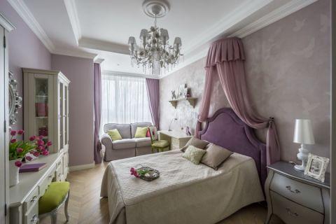 儿童房紫色窗帘美式风格装修图片