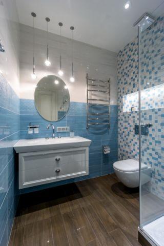 浴室彩色背景墙美式风格装饰图片