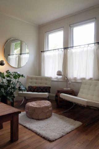 客厅白色混搭风格装饰设计图片