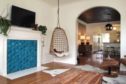 客厅白色混搭风格装潢设计图片
