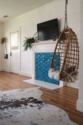客厅白色混搭风格装潢图片