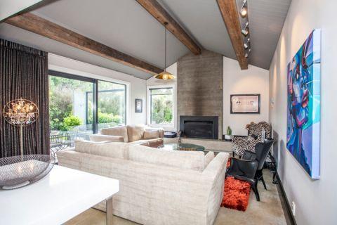 客厅灰色吊顶混搭风格装修效果图
