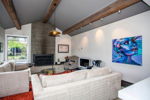 客厅白色背景墙混搭风格装饰效果图