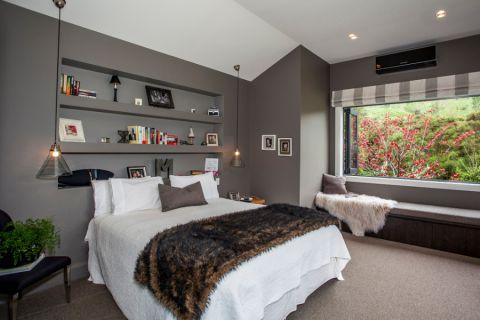 卧室灰色背景墙混搭风格装潢图片