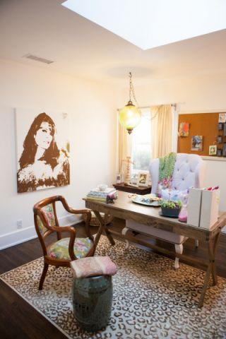 书房米色窗帘混搭风格装饰效果图