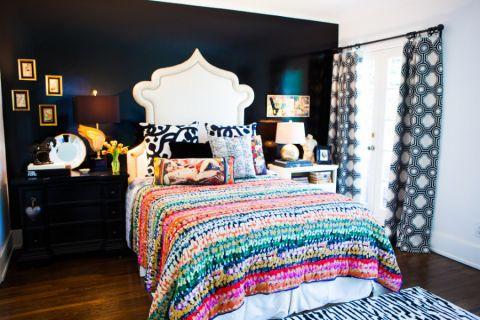 卧室彩色窗帘混搭风格装修图片