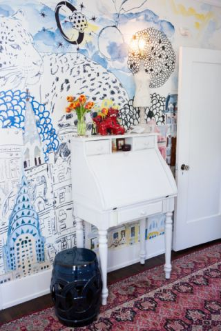 卧室咖啡色背景墙混搭风格装饰图片