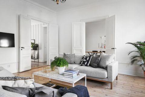 客厅白色背景墙北欧风格装饰效果图
