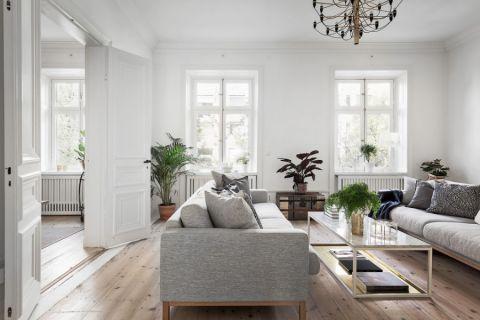 客厅白色推拉门北欧风格装修图片