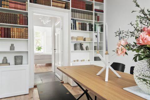 餐厅白色博古架北欧风格装修图片