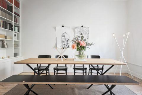 餐厅黄色餐桌北欧风格装潢图片