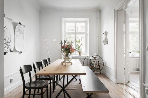 餐厅白色背景墙北欧风格装修设计图片
