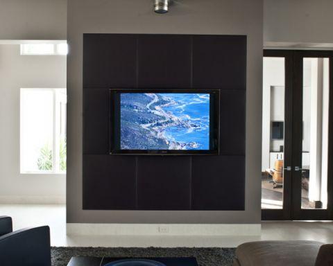客厅灰色背景墙现代风格装饰图片
