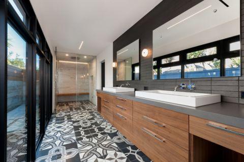 浴室咖啡色洗漱台现代风格效果图