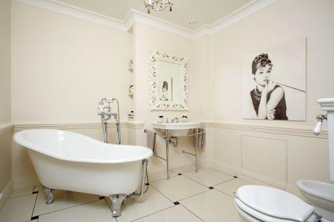 浴室白色背景墙美式风格装潢设计图片