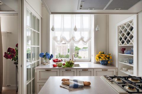 厨房窗帘美式风格装潢设计图片