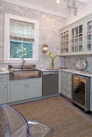 厨房背景墙美式风格装修图片
