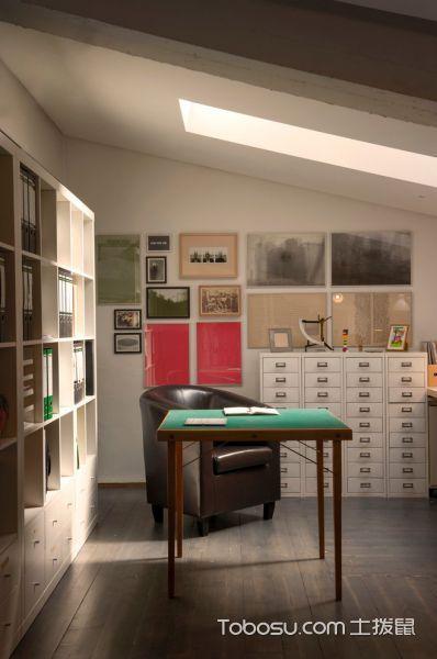 书房白色照片墙现代风格装潢图片