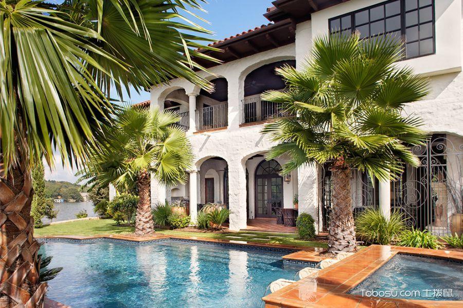 花园蓝色楼梯地中海风格装潢效果图