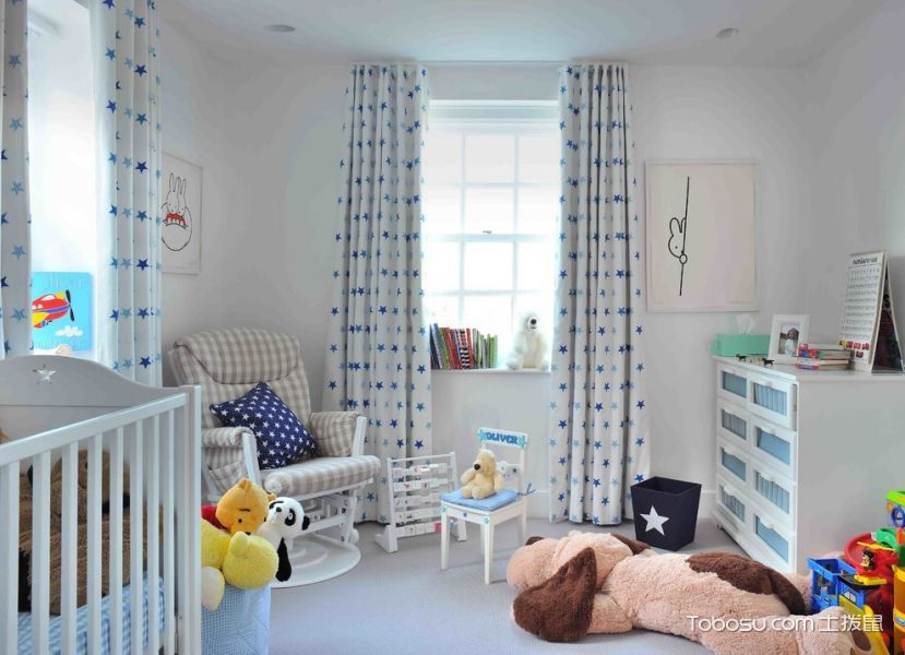 儿童房白色窗帘现代风格装潢图片