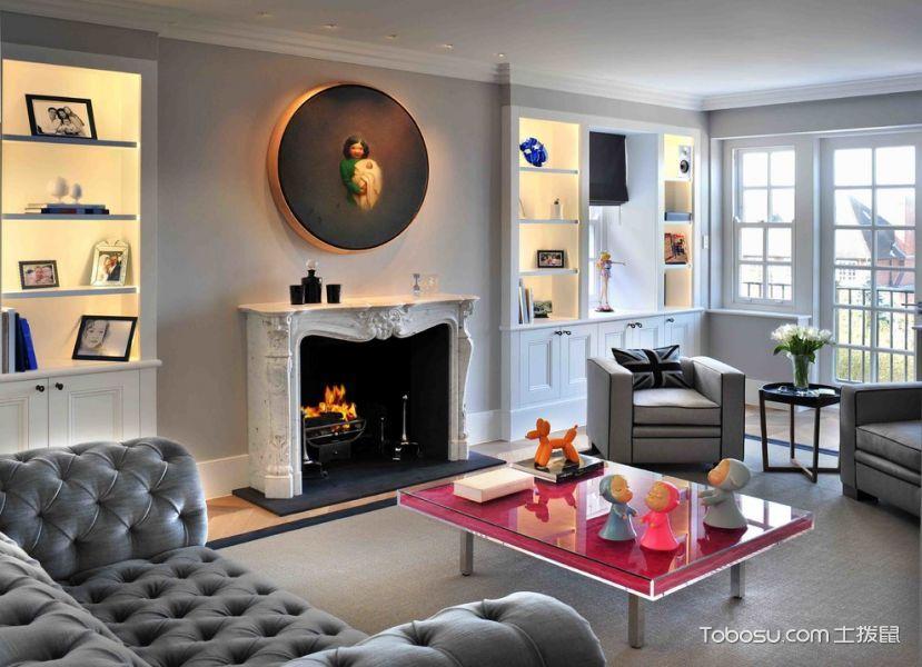 客厅红色茶几现代风格装修设计图片