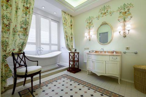 浴室窗帘美式风格装修图片