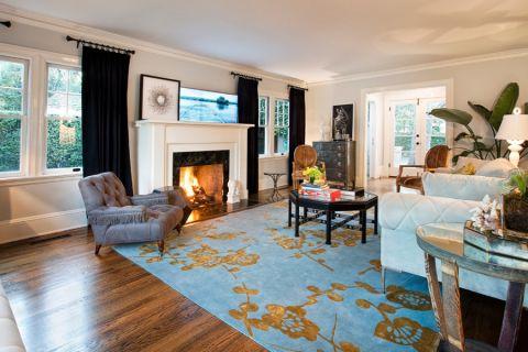 客厅背景墙混搭风格装潢设计图片