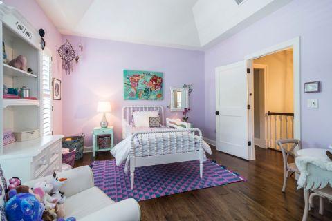 儿童房背景墙美式风格装潢图片