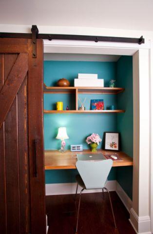 书房背景墙混搭风格装饰图片