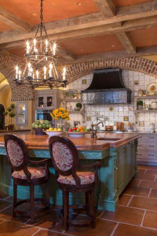 厨房地中海风格效果图大全2017图片_土拨鼠文艺唯美厨房地中海风格装修设计效果图欣赏