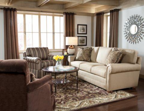 客厅咖啡色窗帘装修实景图片