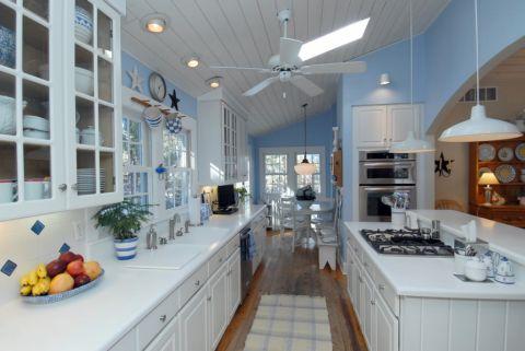 厨房混搭风格效果图大全2017图片_土拨鼠干净优雅厨房混搭风格装修设计效果图欣赏