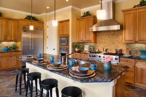 厨房地中海风格效果图大全2017图片_土拨鼠奢华纯净厨房地中海风格装修设计效果图欣赏