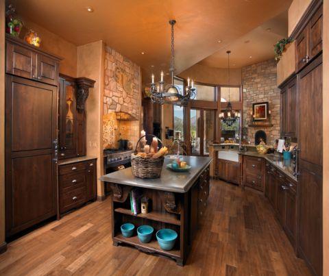 厨房地中海风格效果图大全2017图片_土拨鼠干净迷人厨房地中海风格装修设计效果图欣赏