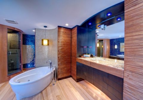 浴室现代风格效果图大全2017图片_土拨鼠精致唯美浴室现代风格装修设计效果图欣赏