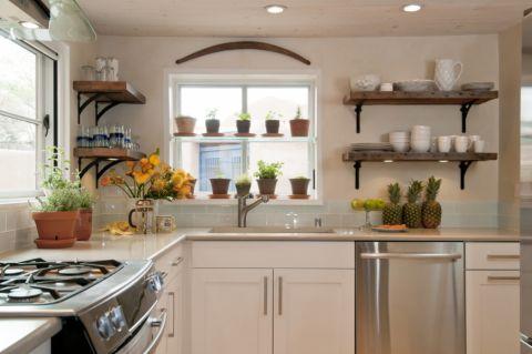 厨房混搭风格效果图大全2017图片_土拨鼠个性自然厨房混搭风格装修设计效果图欣赏