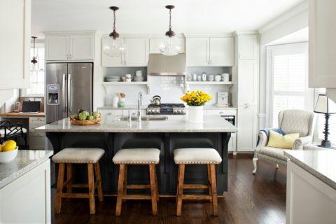 厨房美式风格效果图大全2017图片_土拨鼠清爽摩登厨房美式风格装修设计效果图欣赏